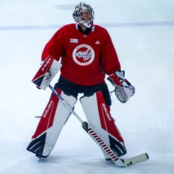Craig Anderson looks on at Capitals morning skate.