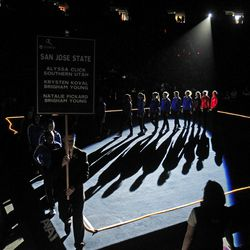 San Jose State is introduced at the beginning of the NCAA Salt Lake Regional Gymnastics Saturday, April 7, 2012 in Salt Lake City.