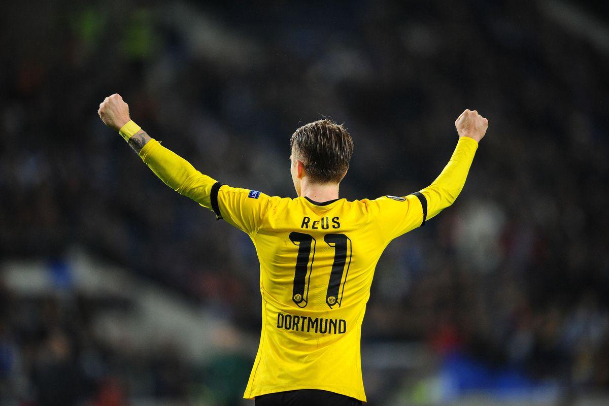 Marco Reus celebrates our lone goal in the 1-0 win over Porto