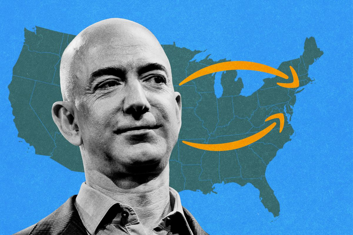 Jeff Bezos standing in front of a map of the U.S. with Amazon arrows pointing toward Long Island City and Arlington