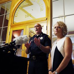 Salt Lake City Mayor Jackie Biskupski, right, listens as Police Chief Mike Brown speaks during a press conference at the City-County Building in Salt Lake City on Friday, Sept. 1, 2017, concerning a University Hospital nurse who was arrested for not allowing a blood draw by a Salt Lake police officer.