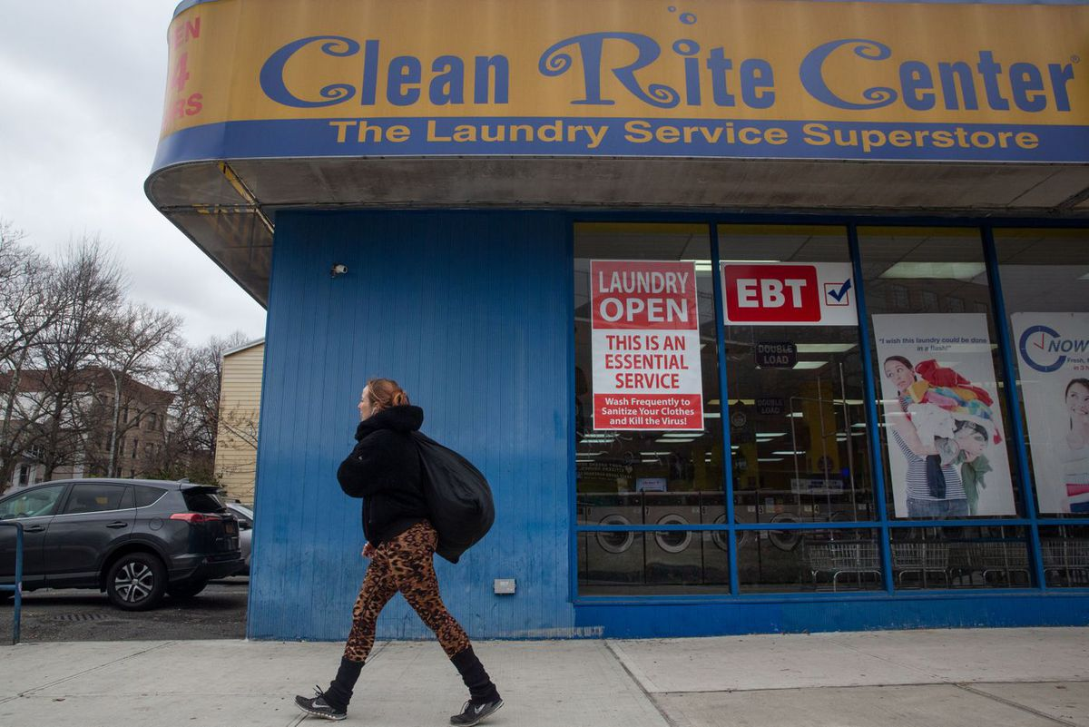 A Clean Rite laundromat in Clinton Hill, Brooklyn stayed open to help people clean their clothes during the coronavirus outbreak.