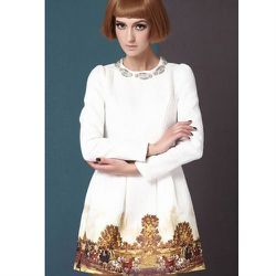 """<a href=""""http://www.sheinside.com/White-Long-Sleeve-Metal-Beading-Neckline-Retro-Print-Dress-p-152127-cat-1727.html"""">White retro print dress</a>, $31.95 <br></br> <b>SheInside:</b> Crazy cheap like Forever21 and ships within 24-hours."""