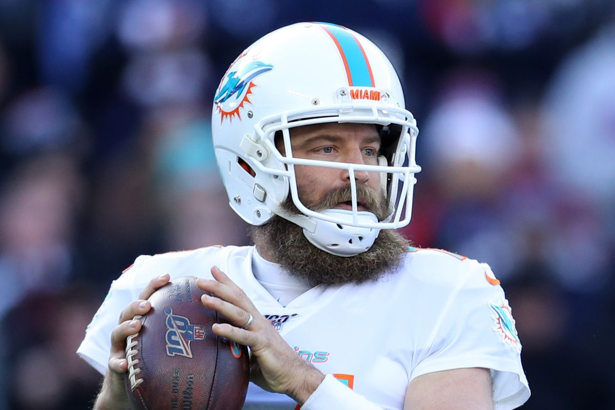 Ryan Fitzpatrick of the Miami Dolphins looks to pass against the New England Patriots at Gillette Stadium on December 29, 2019 in Foxborough, Massachusetts.