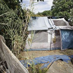 A tent at the Antioch, Calif., home of Phillip Garrido is where kidnap victim Jaycee Dugard lived, according to authorities.