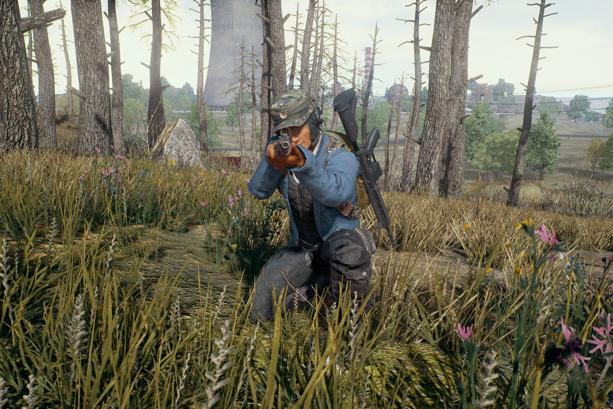 Playerunknown's Battlegrounds - crouching man pointing rifle at you