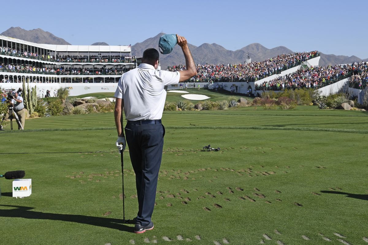 Matt Kuchar almost makes a hole-in-one on the 16th hole during the final round of the Waste Management Phoenix Open, at TPC Scottsdale on February 4, 2018 in Scottsdale, Arizona.