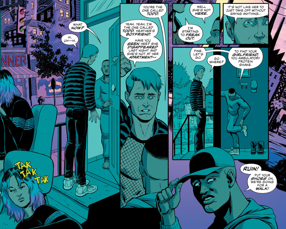 Todd, a muscular guy in a mesh shirt, knocks on the door of the exiled angle Jophiel, the the form of a black man. He explains that he can't find his girlfriend Heather, and Jophiel calls out to Ruin to say they're going for a walk, in The Dreaming: Waking Hours #7, DC Comics (2021).