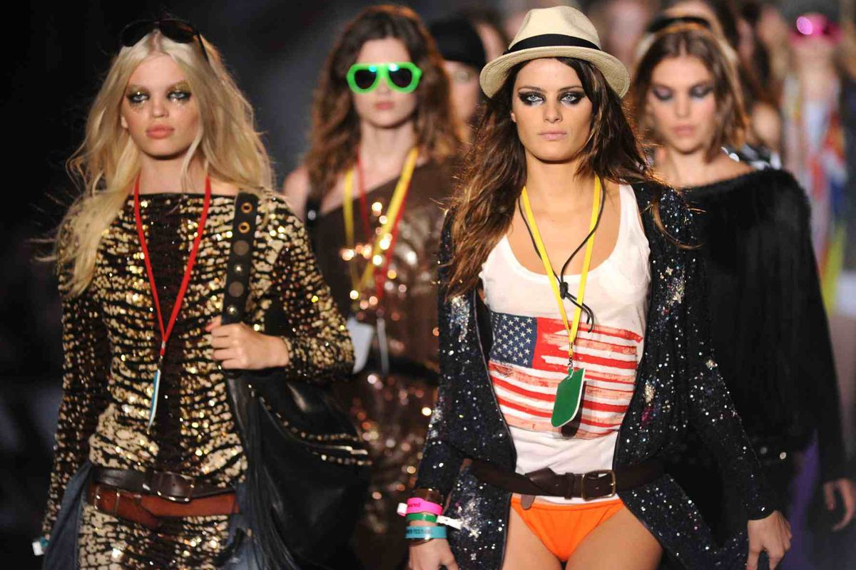 Scene from the always-colorful DSquared2 spring 2012 show (Getty Images)