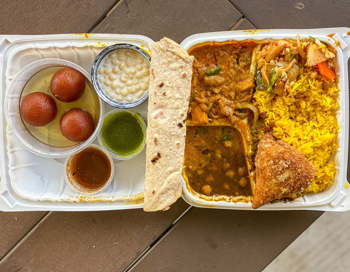 Daily lunch combo from Namaste Spiceland in Pasadena.