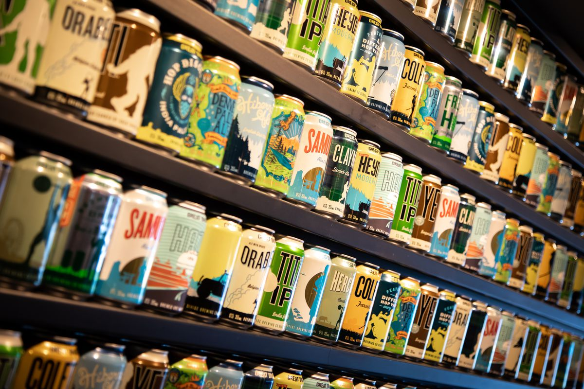 Canned beers on shelves