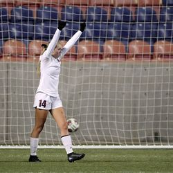 Manti's Morgan Chidester, Morgan's Brooklyn Field and Manti's Katelyn Crouch react to Morgan's third goal during the 3A girls soccer championship game at Rio Tinto Stadium in Sandy on Monday, Oct. 26, 2020. Morgan won 3-1.