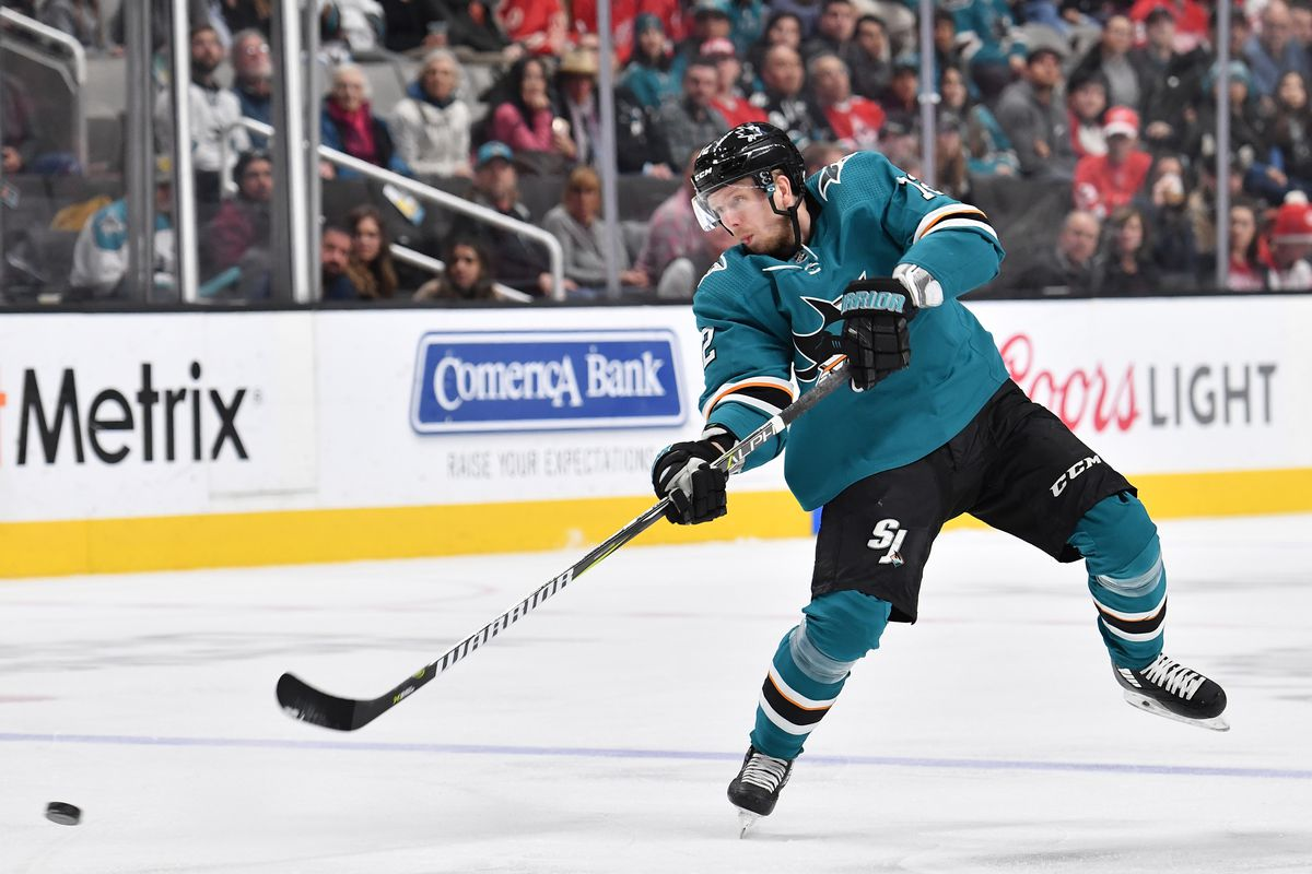 SAN JOSE, CA - MARCH 25: Tim Heed #72 of the San Jose Sharks shoots the puck against the Detroit Red Wings at SAP Center on March 25, 2019 in San Jose, California