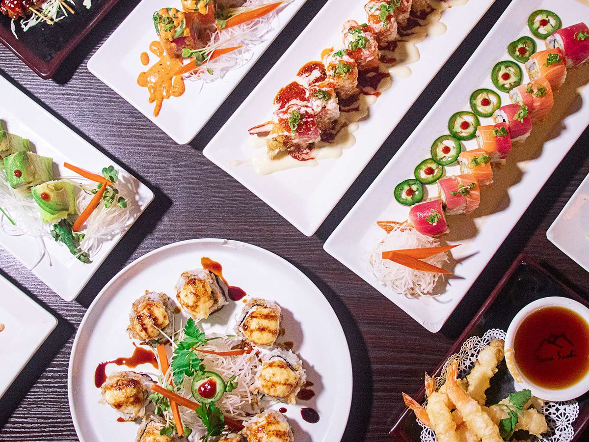 White plates with sushi dishes