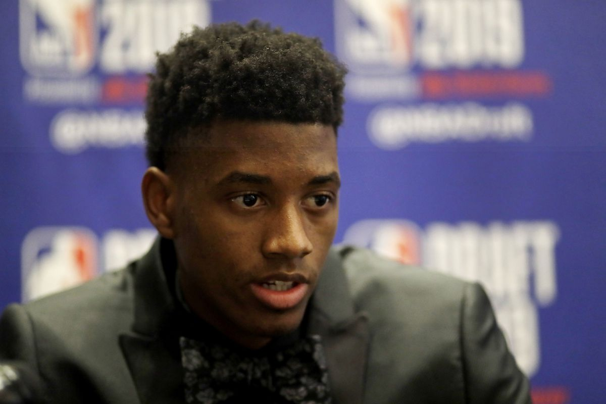 Jarrett Culver, a sophomore basketball player from Texas Tech, attends the NBA Draft media availability, Wednesday, June 19, 2019, in New York. The draft will be held Thursday, June 20. (AP Photo/Mark Lennihan)