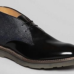 """<strong>Paul Smith</strong> Hunter Chukka in Black/Navy, <a href=""""http://www1.bloomingdales.com/shop/product/paul-smith-hunter-leather-chukka-boots?ID=760012&CategoryID=3864#fn=spp%3D3%26ppp%3D96%26sp%3D1%26rid%3D%26spc%3D22%26kws%3DChukka"""">$580</a> at Bl"""