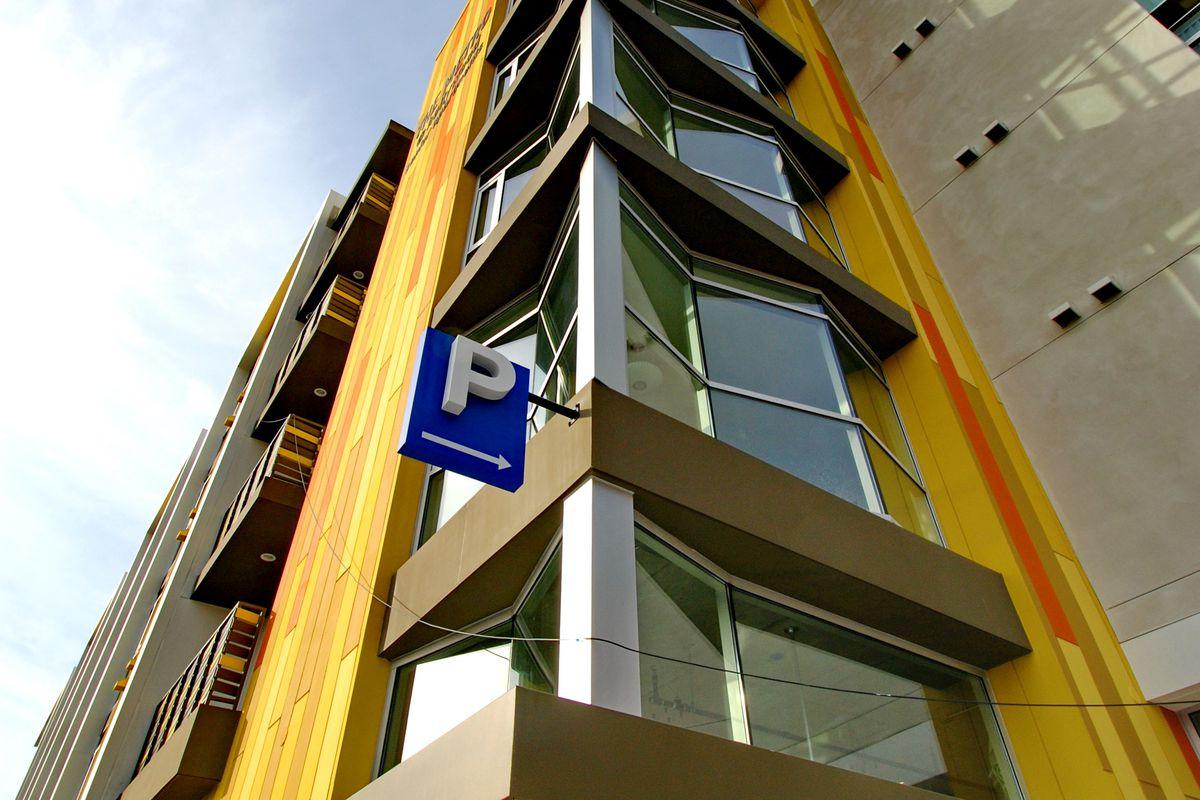 view looking up at apartments