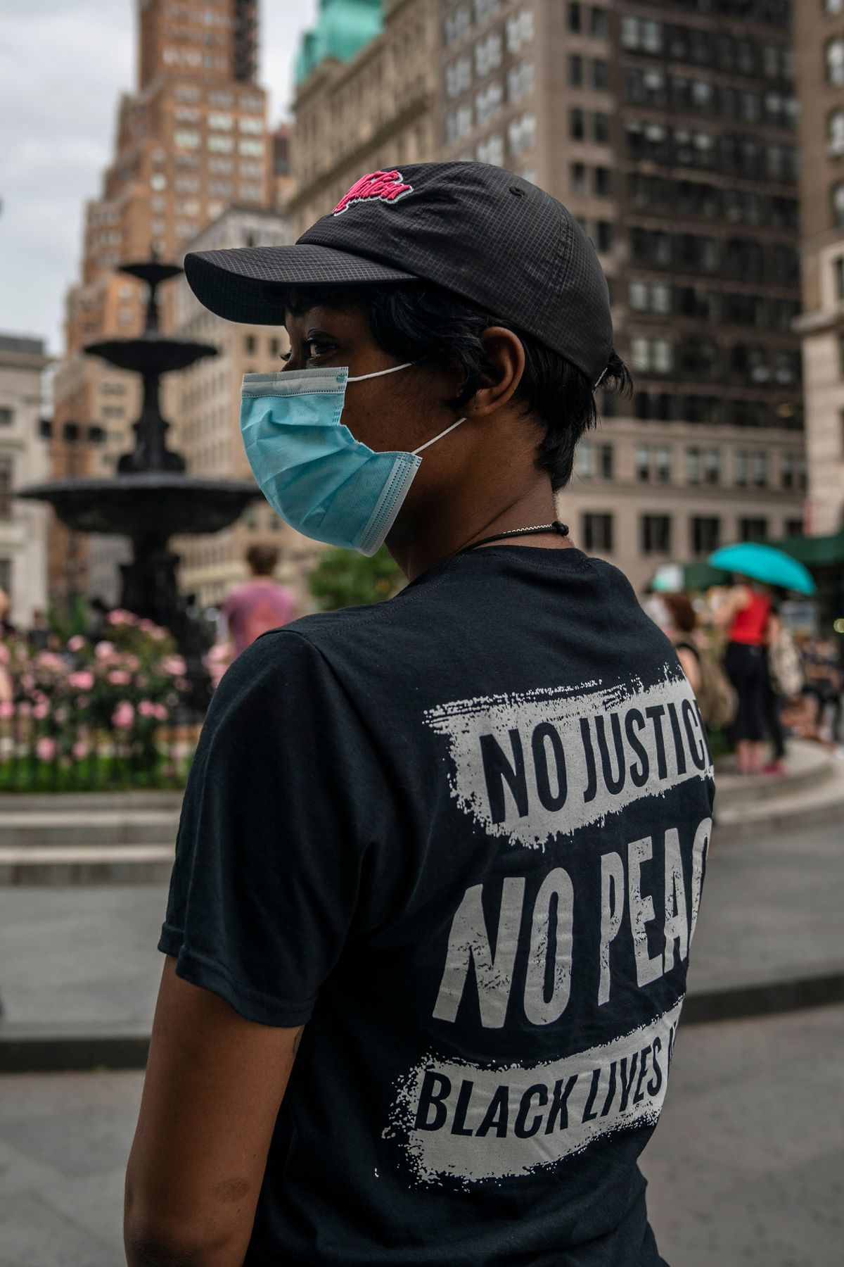 """""""I'm out here for the next generation and my unborn kids,"""" said medical assistant, Ressie, during a protest outside Brooklyn Borough Hall, June 5, 2020."""
