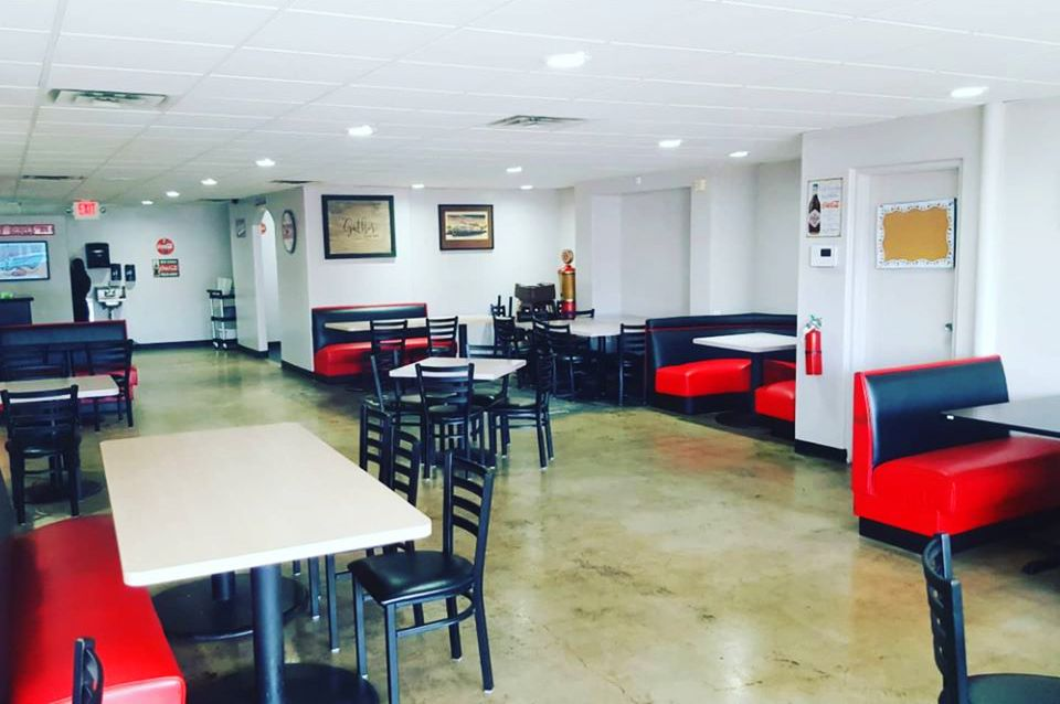 The new social distancing layout inside the Pacific Diner.