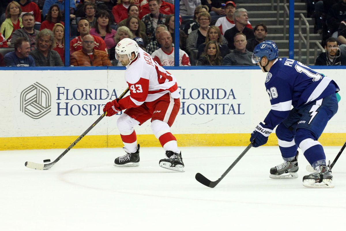 Ondrej Palat will be chasing down Red Wings at the Amalie tonight.
