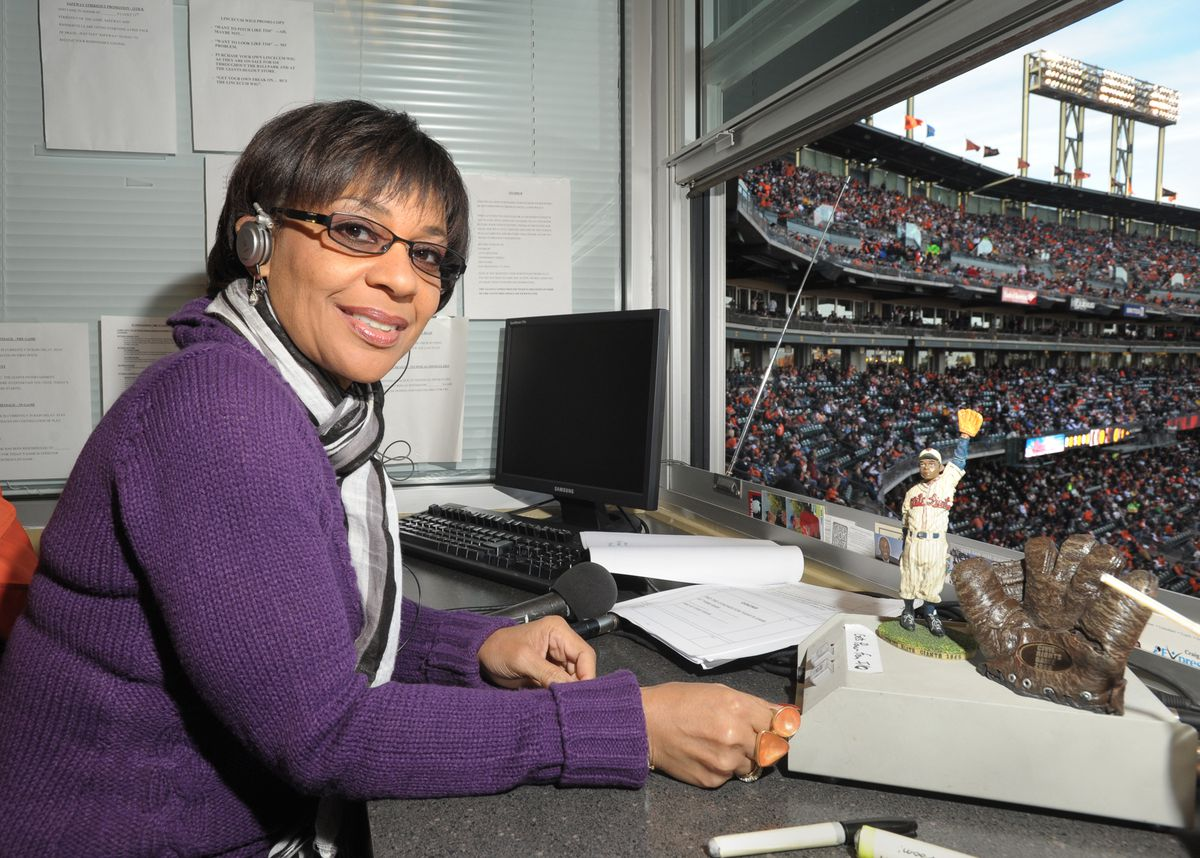 Renel Brooks-Moon, the Oakland-born radio disc jockey, works as the PA announcer for the San Francisco Giants during their Friday, May 20, 2011, game against the Oakland Athletics at AT&T Park in San Francisco, Calif. (Karl Mondon/Staff)