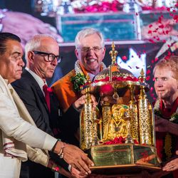 Elder D. Todd Christofferson, a member of the Quorum of Twelve Apostles for The Church of Jesus Christ of Latter-day Saints, receives the Philosopher Saint Shri Dnyaneshwara World Peace Prize-2017, during an award ceremony at the MIT World Peace University in Pune, Maharashtra, India, on August 14, 2017. At Elder Christofferson's side, right, is his wife, Sister Kathy Christofferson.