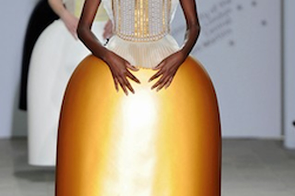 Serena Gili's designs won second runner up for her egg-shaped skirts and Erin Hawkes' hip hop nun looks took home the big prize at last night's Central Saint Martins BA show in London. Image via Vogue UK