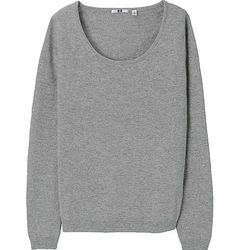 """<a href=""""http://www.uniqlo.com/us/womens-clothing/collections/womens-cashmere-collection"""">Uniqlo cashmere crewneck sweater</a>, on sale for $69.90 (originally $89.90)"""