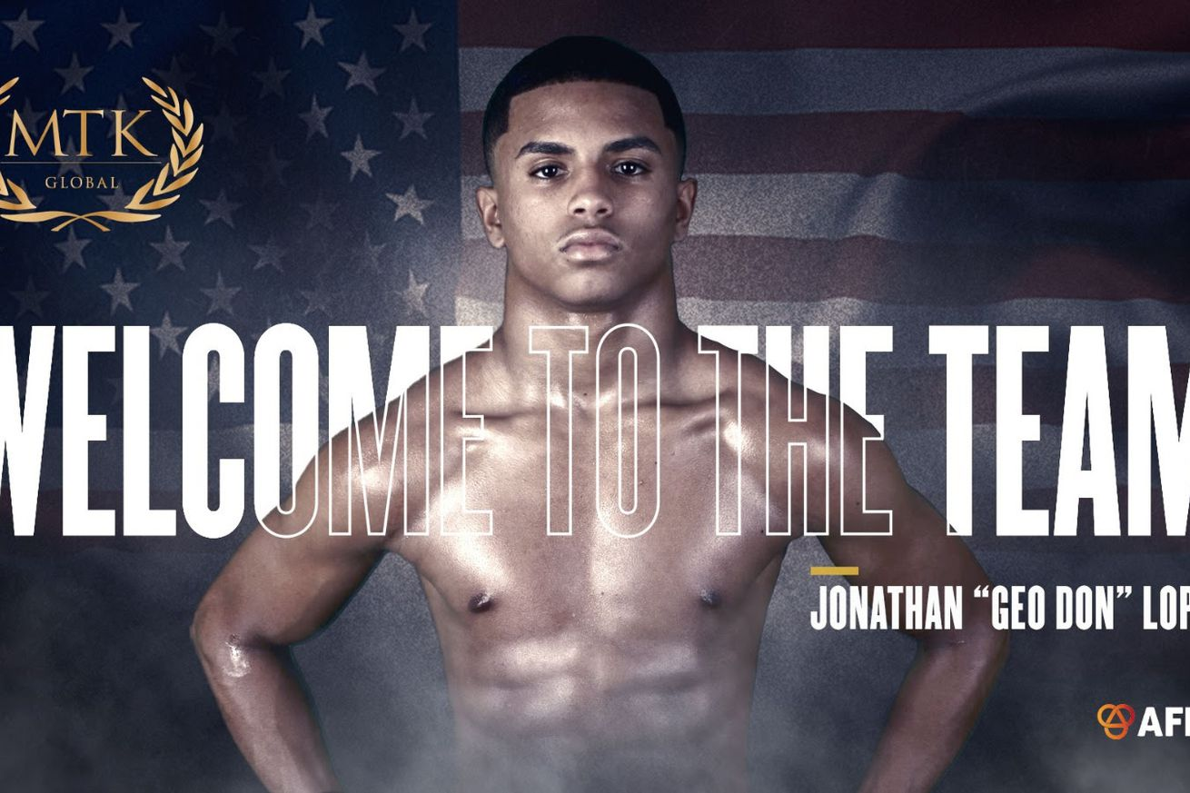 """<label><a href='https://www.mvpboxing.com/news/boxing/29679/Jonathan-Geo-Don-Lopez-signs-with-MTK-Global' class='headline_anchor'>Jonathan """"Geo Don"""" Lopez signs with MTK Global</a></label><br />The 17-year-old prospect is looking to turn pro. MTK Global continues to put the pieces together to"""