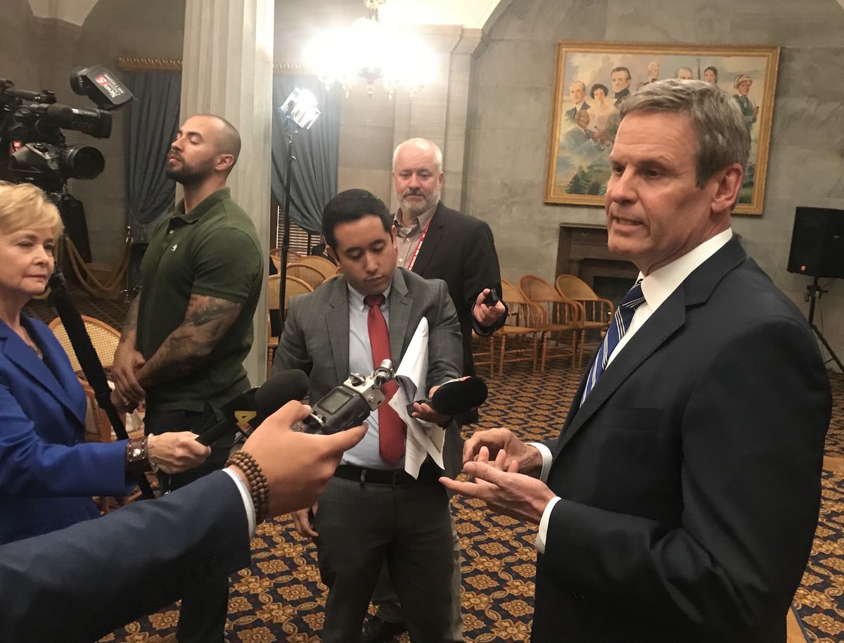 Gov. Bill Lee speaks with reporters after the Senate passes his education savings account proposal. (Photo by Marta W. Aldrich/Chalkbeat)
