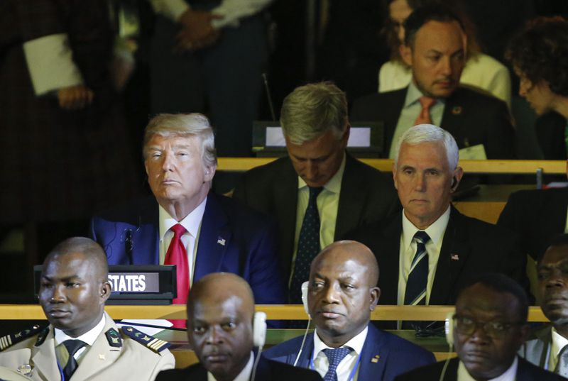 U.S. President Donald Trump, Vice President Mike Pence and the Ambassador to the United Nations (U.N.) Kelly craft briefly attend the U.N. Climate Action Summit on September 23, 2019 in New York City.