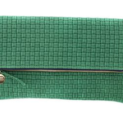 "<b>Clare Vivier</b> Basketweave Foldover Clutch at <b>M. Flynn</b>, <a href=""http://mflynnjewelry.com/green-basketweave-foldover-clutch/p/24051/ac/d/?action=d&cPath=1328"">$180</a>"
