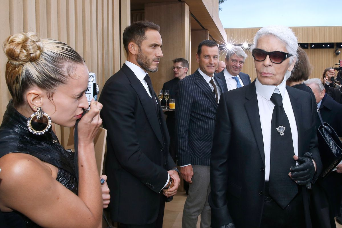 Karl Lagerfeld at Chanel's spring 2016 Haute Couture runway show.