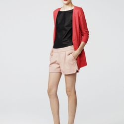 Combo cardigan, coral, $328; perforated leather tee, black, $425; perforated leather short, light pink, $428