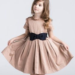 """Baby may take a few years to grow into this, but it's the truest replica of the Lanvin dress Kim wore while preggers we've found. $930, <a href=""""http://www.lanvin.com/e-lanvin/US//children/duchess-dress-25365.html?color=Middle%20Beige&colorid=283"""">Lanvin<"""