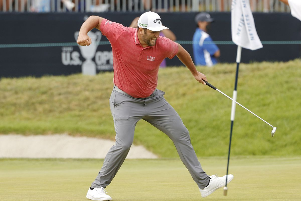 Jon Rahm of Spain celebrates making a putt for birdie on the 18th green during the final round of the 2021 U.S. Open at Torrey Pines Golf Course (South Course) on June 20, 2021 in San Diego, California.