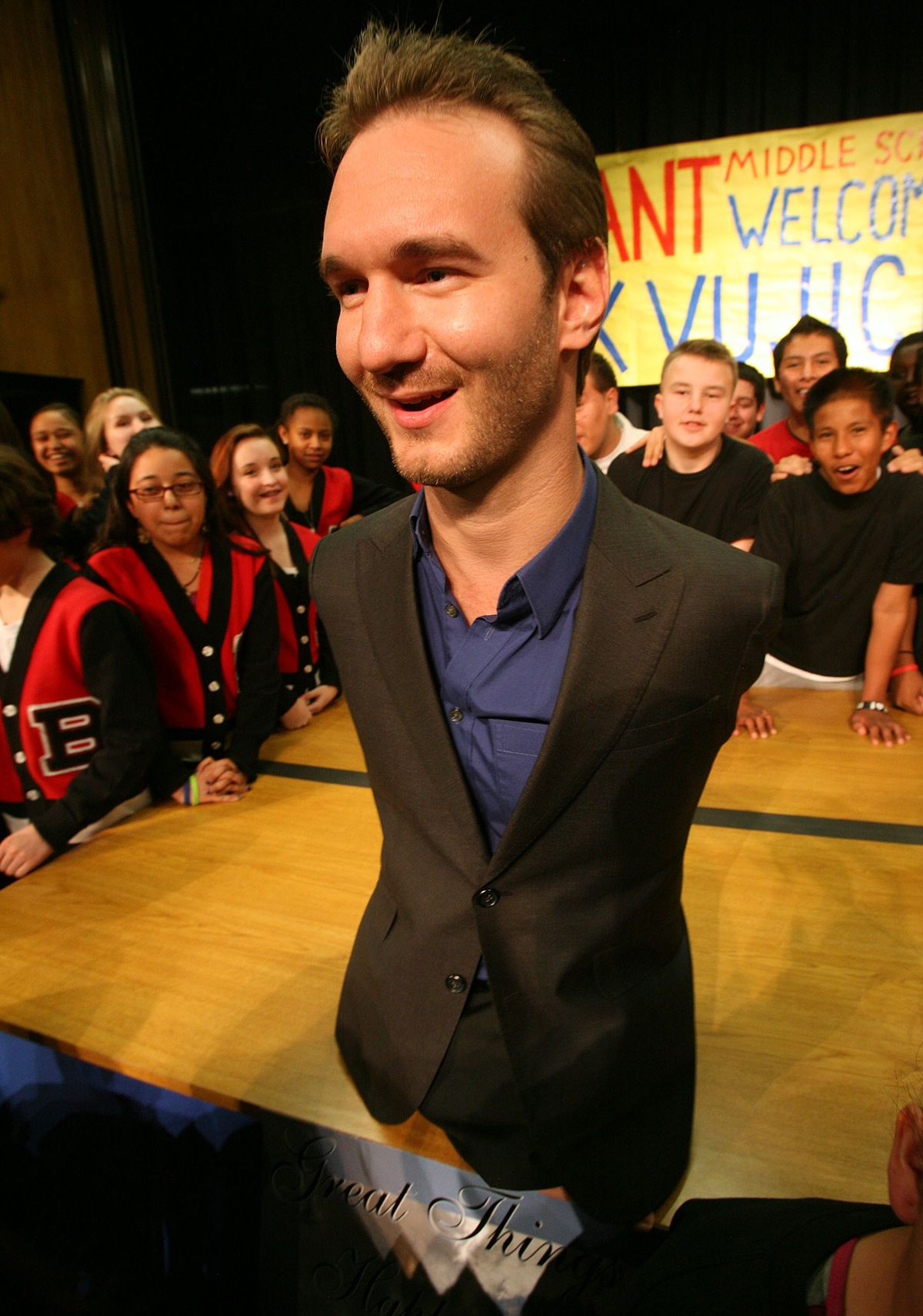 Nick Vujicic, who was born without arms or legs, gets ready for a photo after giving a motivational speech at Bryant Middle School in Salt Lake City Thursday, March 7, 2013. Vujicic is one of 13 keynote speakers at RootsTech Connect Feb. 25-27, 2021.