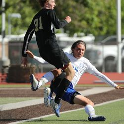 Fremont and Davis compete in a 6A boys soccer quarterfinal in Kaysville on Thursday, May 20, 2021. Fremont won 2-1.