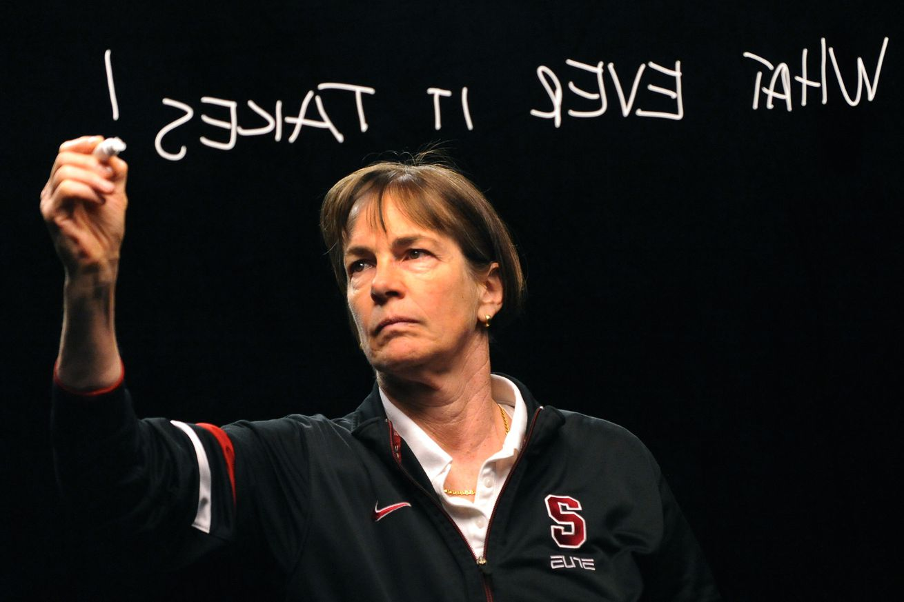 """Stanford University women's basketball coach Tara VanDerveer wrote the words """"Whatever it Takes"""" on a sheet of plexiglass for ESPN Friday afternoon, March 30, 2012. Teams filmed a tease for the television network that will be used Sunday night during the"""