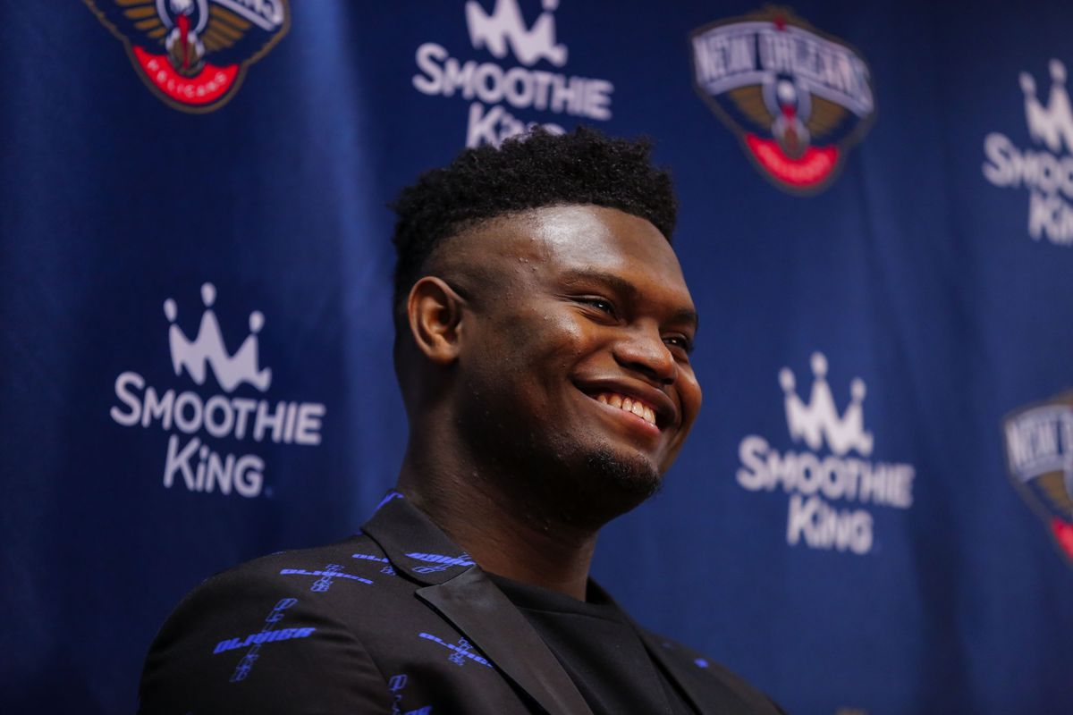 New Orleans Pelicans forward Zion Williamson talks with the media following his first NBA game against the San Antonio Spurs a 121-117 loss at the Smoothie King Center.