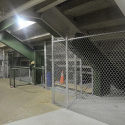 10:13 p.m. Under the left-field porch -