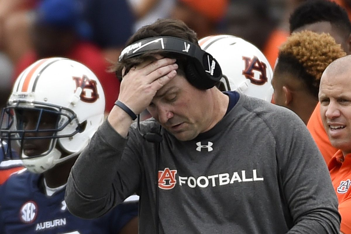 Auburn defensive coordinator Will Muschamp can't figure out how the Tigers got outgained by FCS Jacksonville State...or why anyone would still have Auburn in their Top 10.