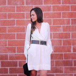 "Melanee of <a href=""http://www.melaneeshale.com""target=""_blank"">Melanee Shale</a> is wearing a Swell dress, a <a href=""http://www.lineapelle.com/belts/shop/embellished-belts/waist-belt-with-nailhead-studs-vanilla""target=""_blank"">Linea Pelle</a>"