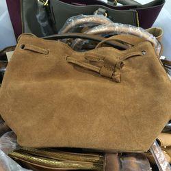 Suede bucket bag, $90