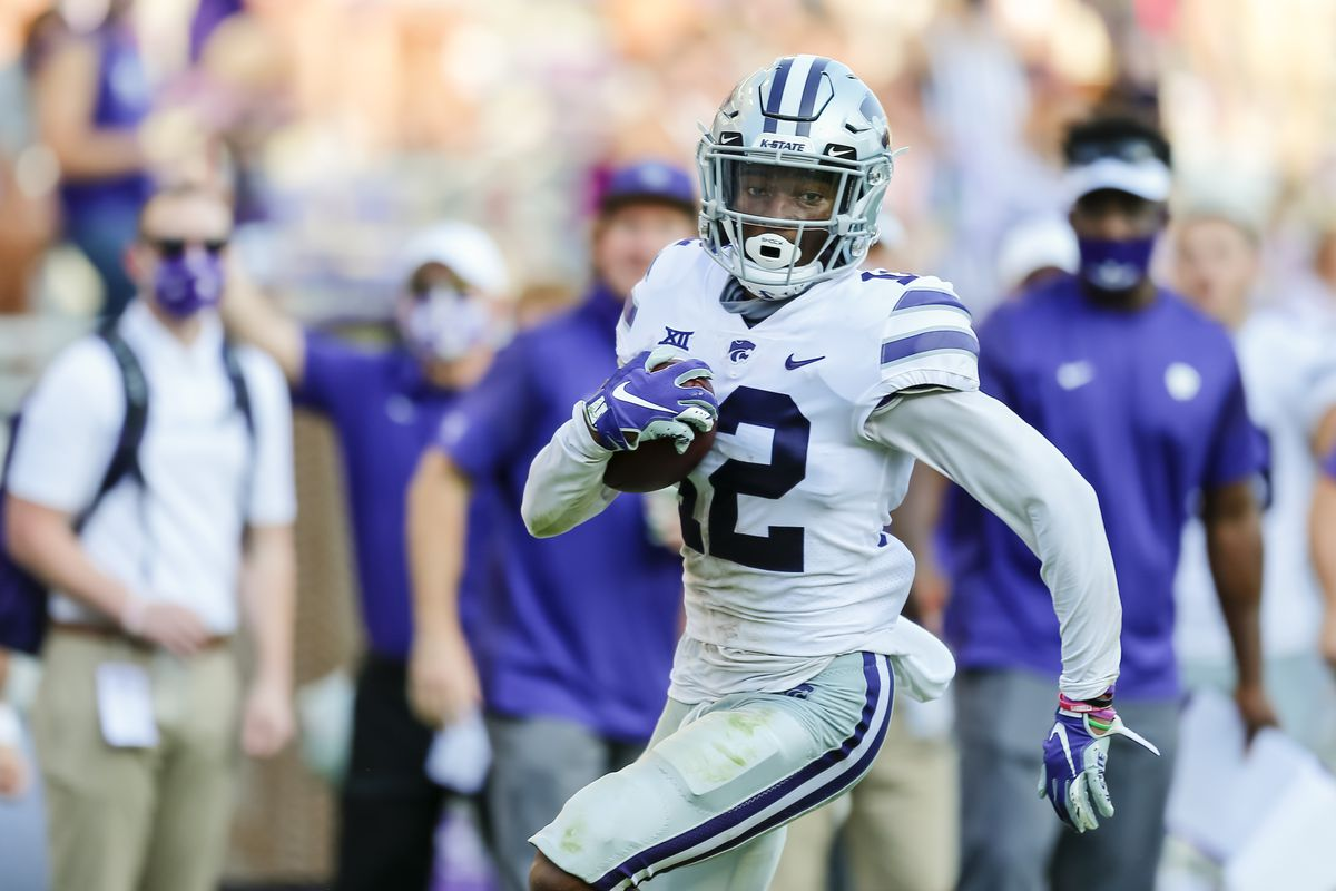 Kansas State Wildcats defensive back AJ Parker intercepts the football and runs during the game between the TCU Horned Frogs and the Kansas State Wildcats on October 10, 2020 at Amon G. Carter Stadium in Fort Worth, Texas.