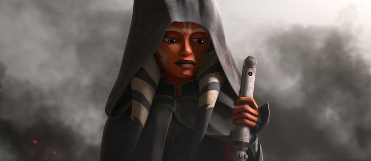 Ahsoka holds her lightsaber in the final episode of Star Wars: The Clone Wars