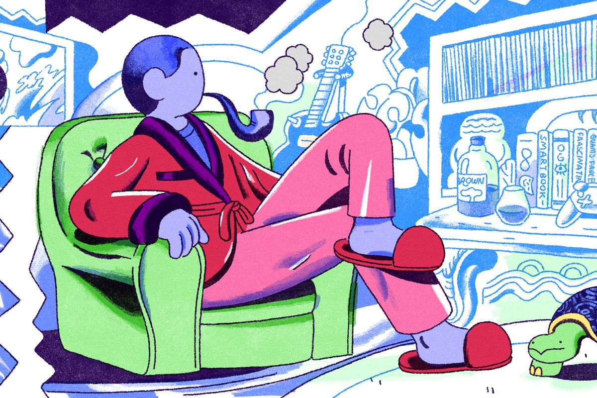 A male figure in a velvet smoking jacket sits comfortably in a plush arm chair. He is smoking a pipe and surrounded by stereotypical masculine items like whiskey bottles and video game controllers. Illustration.