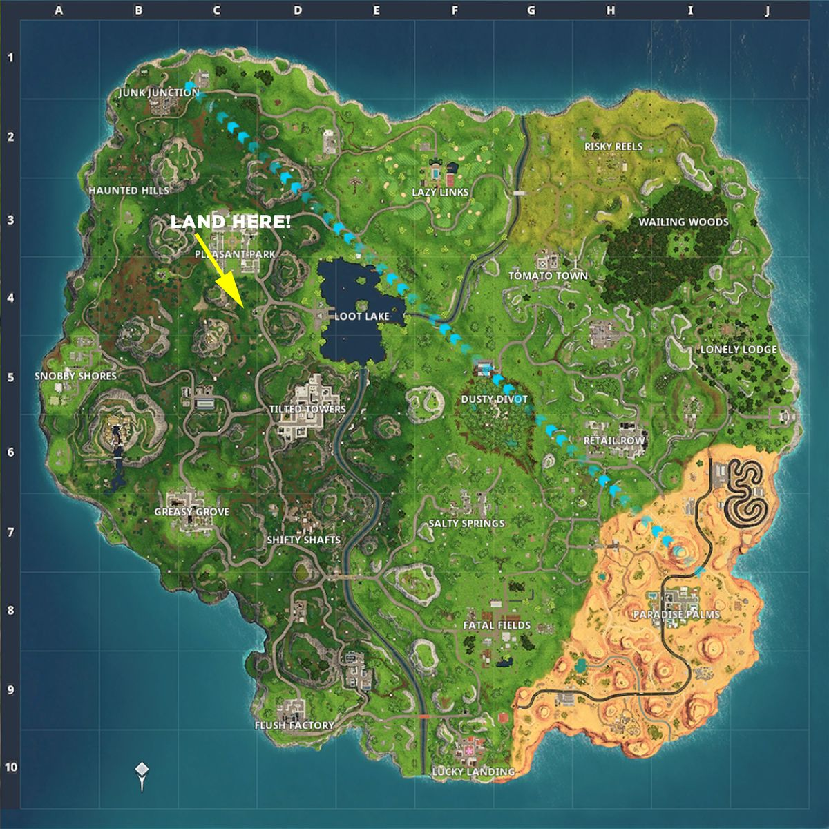 Fortnite Search between a Gas Station, Soccer Pitch and Stunt Mountain map