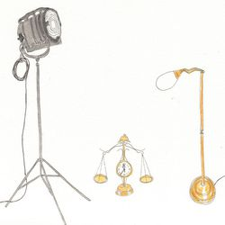 Left to right: Rewired Hollywood studio tripod lamp, $850. Scale clock, $250. Bowery vintage brass floor lamp, $275.