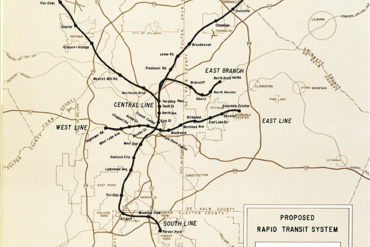 A map showing a northeast and northwest line, as well as a train branch to Emory.